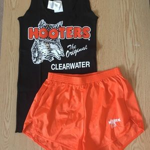 Hooters uniform black top & orange shorts Small